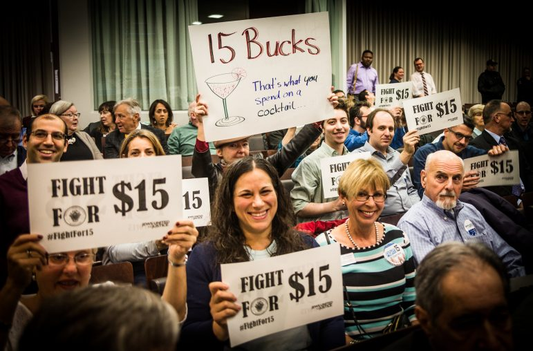 JUFJ members advocating $15 minimum wage