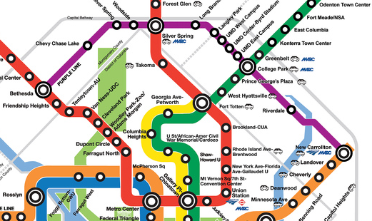 map of the metro that serves dc, Maryland, and Virginia