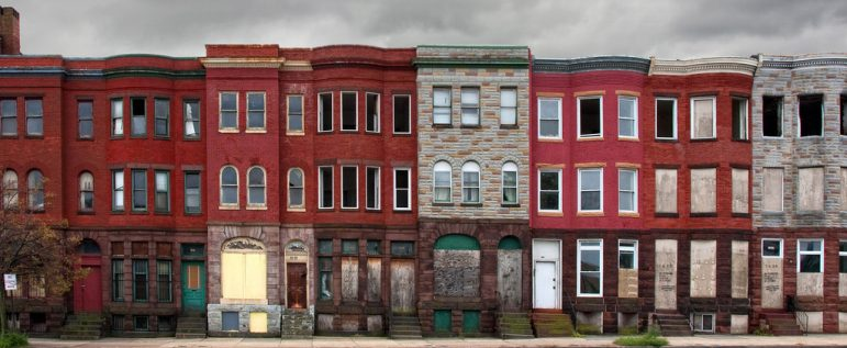 row of Baltimore townhouses