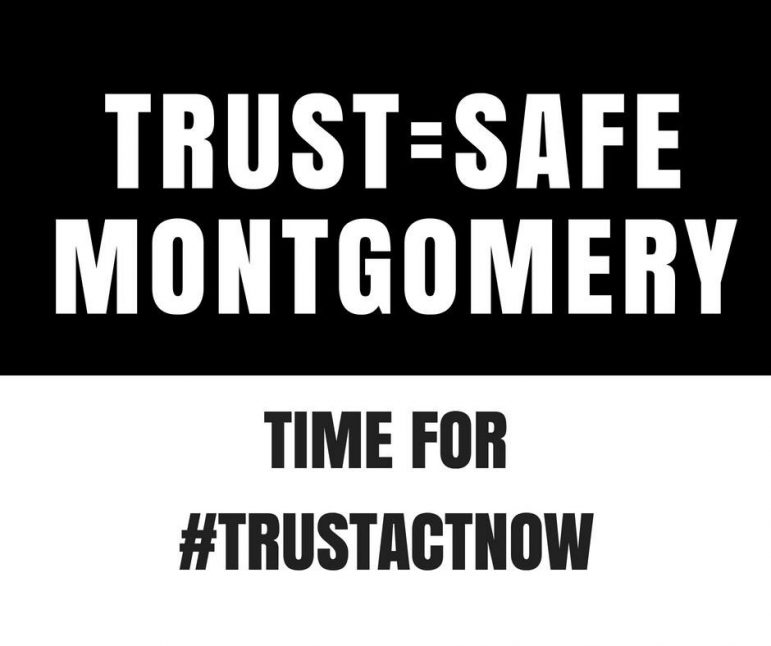 graphic that reads 'trust=safe Montgomery time for #trustactnow'