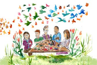 social justice seder postcard, people enjoying a seder outside with birds and flowers