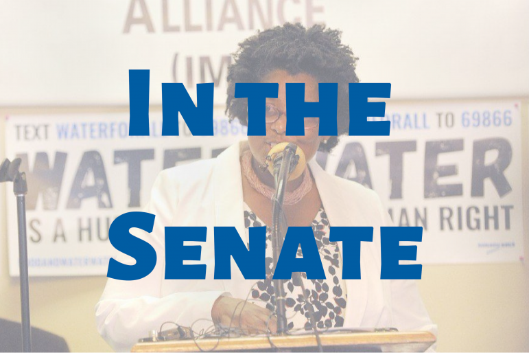 woman at podium, text superimposed reads in the senate