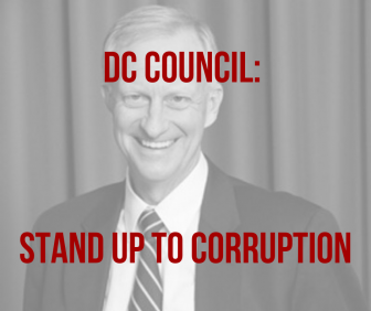 graphic image reading dc council: stand up to corruption