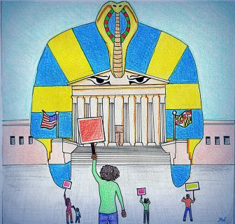 art depicting MD court as the Pharaoh