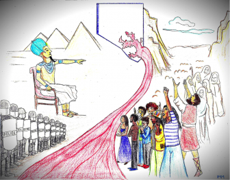 passsover art drawing parralels between the pharaoh and police