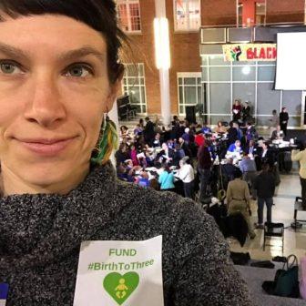 selfie of someone wearing fund birth to three campaign sticker