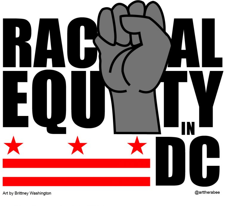 graphic of fist reading racial equity in dc