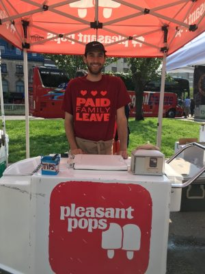paid family leave advocate sells ice pops