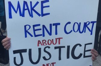sign reading make rent court about justice