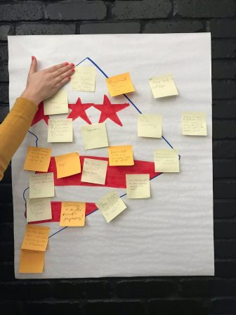 Post-it notes stuck to a DC flag in the shape of DC.