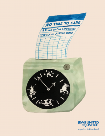 Time clock with plagues on it and a time card that says No Time To Care: A Plague on Our Communities.