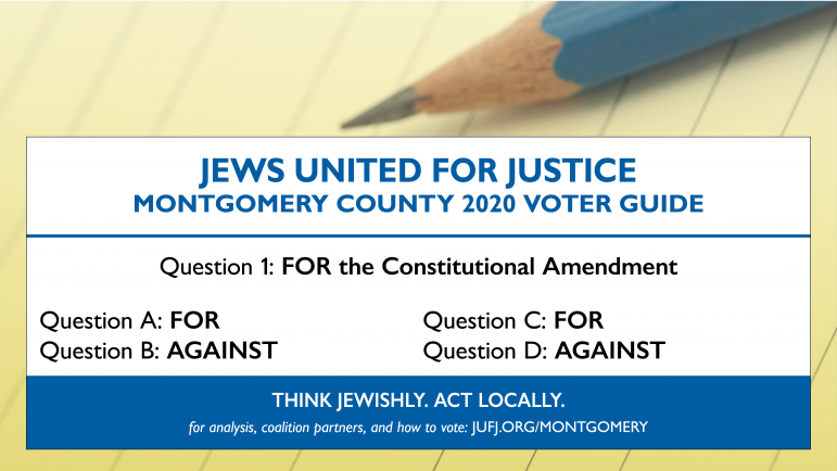 JUFJ Montgomery County 2020 Voter Guide: FOR Questions 1, A, and C. AGAINST Questions B and D.