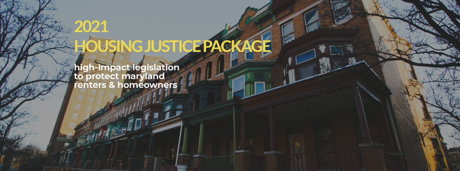 """Row of houses with text """"2021 Housing Justice Package"""""""