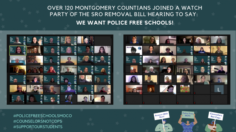 This image compiles screenshots of the attendees of the Police Free Schools hearing on 02/02
