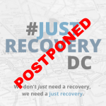Postponed in red text over #JustRecoveryDC image
