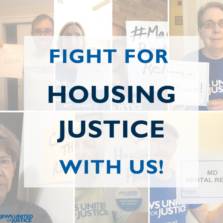People holding signs; text saying Fight for Housing Justice with us