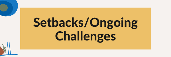 Setbacks/Ongoing Challenges graphic