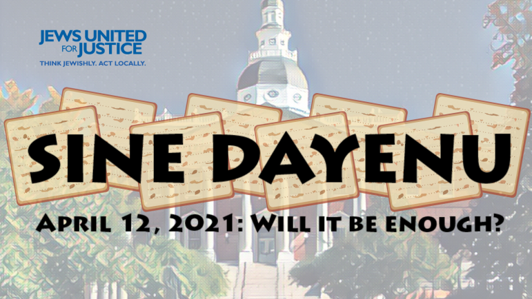 A cartoonized destaurated state building in annapolis with matzoh and the words Sine Dayenu overlayed on top