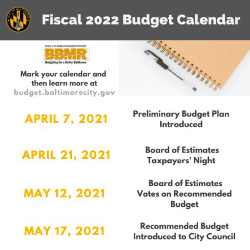 Baltimore Fiscal 22 Budget Calendar