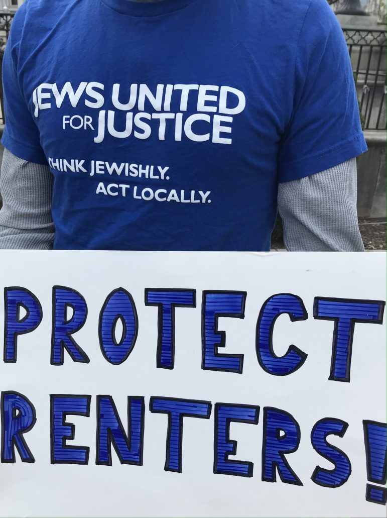 Protect Renters! Sign with JUFJ shirt