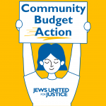 """cartoon person with short hair holds a sign above their head that says """"community budget action"""". This person is wearing a JUFJ t shirt. The whole design is white with blue lines on a bright yellow background"""