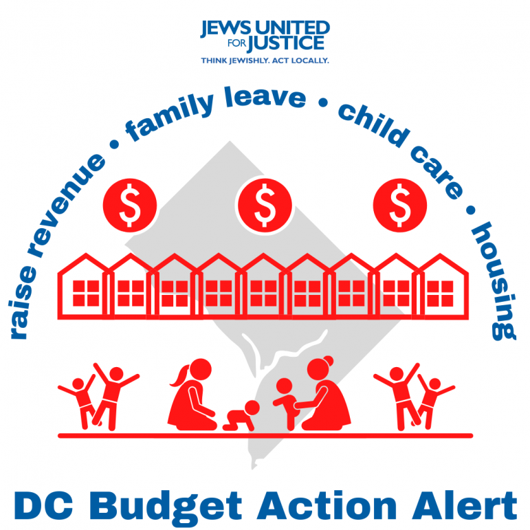 graphic of children and parents playing, rowhouses, and dollar signs with blue text reading #JustRecoveryDC below and JUFJ DC's budget priorities in an arc on top. The DC map is grayed out in the background.