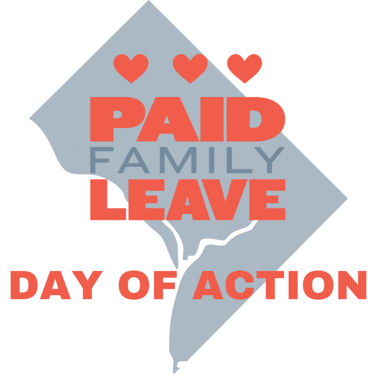 """""""Paid Family Leave Day of Action"""" on a DC map"""