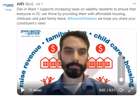 A tweeted video of Dan asking DC Council to raise taxes on the rich
