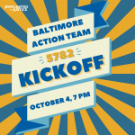 Baltimore Action Team 5782 Kickoff event written on a banner
