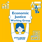 """Person holding sign """"Economic Justice Working Group"""""""