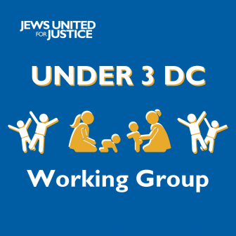 Children playing with caregivers with text: Under 3 DC Working Group