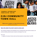 CJSJ Community Town Hall flyer with event details